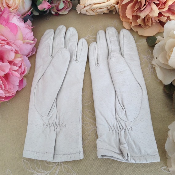 Vintage Off White Winter Leather Gloves, Women Lea