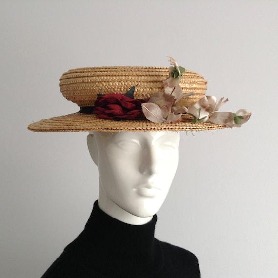 Vintage Natural  Wide Brim Straw Hat , Floral Str… - image 5