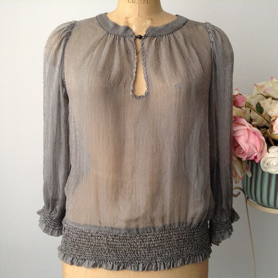 Vintage ZARA Sheer Striped  Blouse with Gathered H