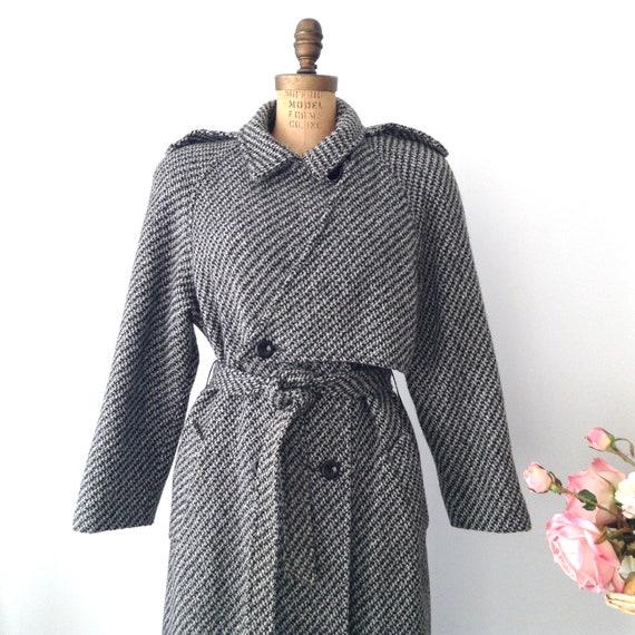 Vintage EXCEPTION  Tweed Winter Coat, Long Winter