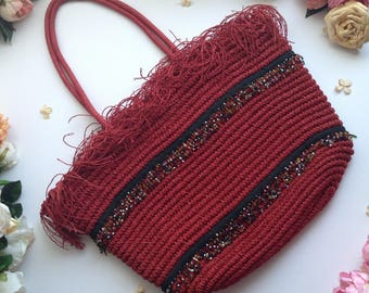 Vintage Red and Black Straw Bag with Red fringe and Various Beads Adornment,Elegant Straw Bag,Large Straw Bag,Summer Straw Bag,Seed Bead Bag