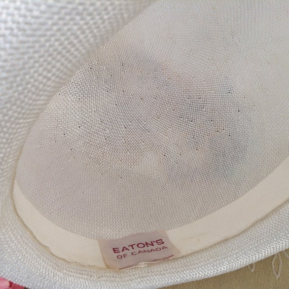 Vintage EATON'S of Canada White Straw Hat, Straw … - image 9