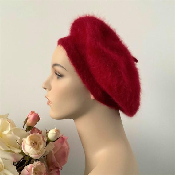 Vintage Red Angora Winter Beret, Elegant Colorful