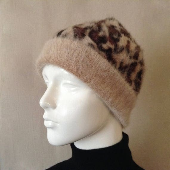 Vintage Aldo Angora Winter Hat with Animal Prints,