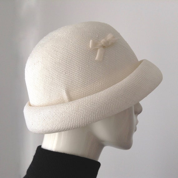 Vintage EATON'S of Canada White Straw Hat, Straw … - image 4