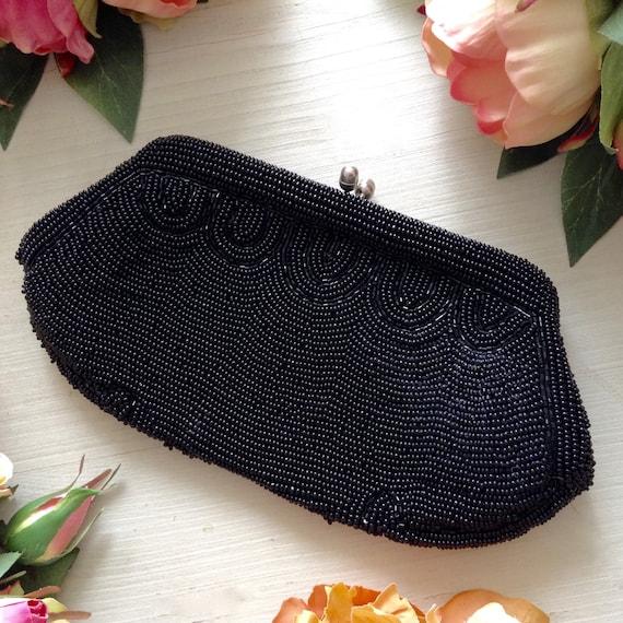 Vintage 1950s Black Beaded Satin Clutch, Formal Cl