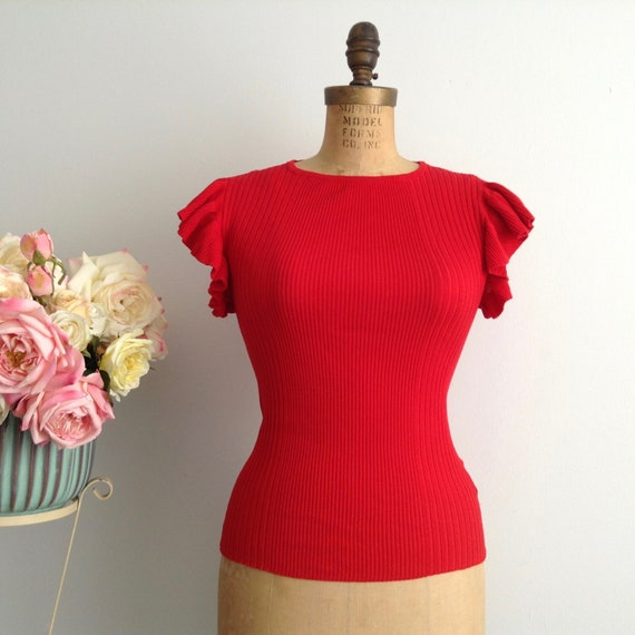 Vintage Red Elastane and Polyester Knitted Top, St