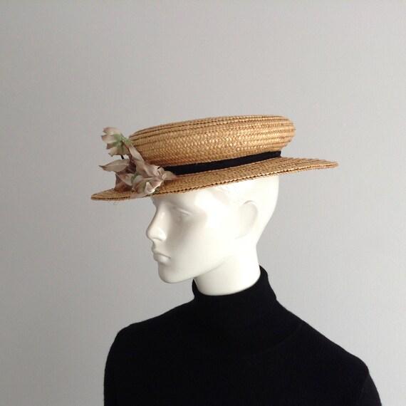 Vintage Natural  Wide Brim Straw Hat , Floral Str… - image 2