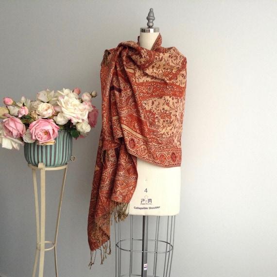 Vintage Pashmina Shawl, Wool Shimmery Rectangular