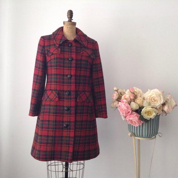 Vintage BROMLEIGH NEW YORK Red Wool Plaid Winter C