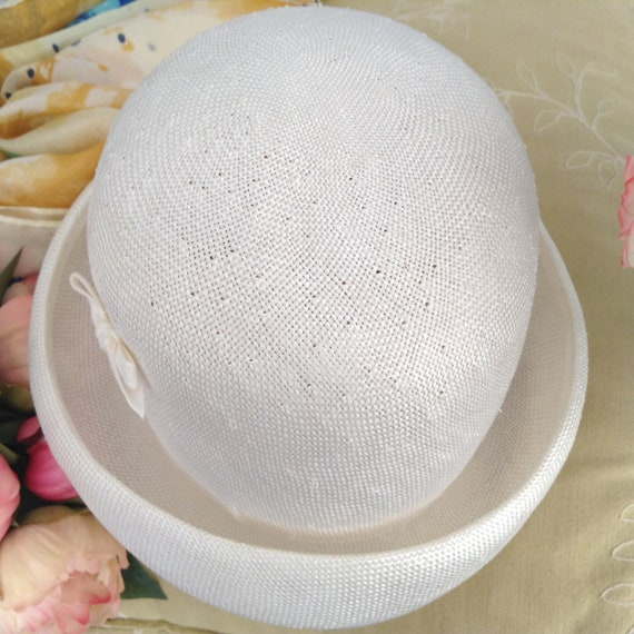 Vintage EATON'S of Canada White Straw Hat, Straw … - image 8