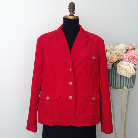 Vintage LANDS' END Red Corduroy Jacket, Velvet Jac