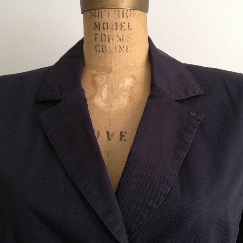 Sporty Classic Blazer Vintage Armany Jeans Dark Blue Cotton Single Breasted 3 Buttons Notch Lapel Straight Black Women/'s Casual Jacket