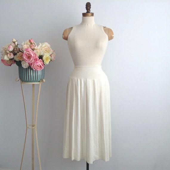 Vintage Beige Wool Knit Pleated Skirt, Pleated Woo