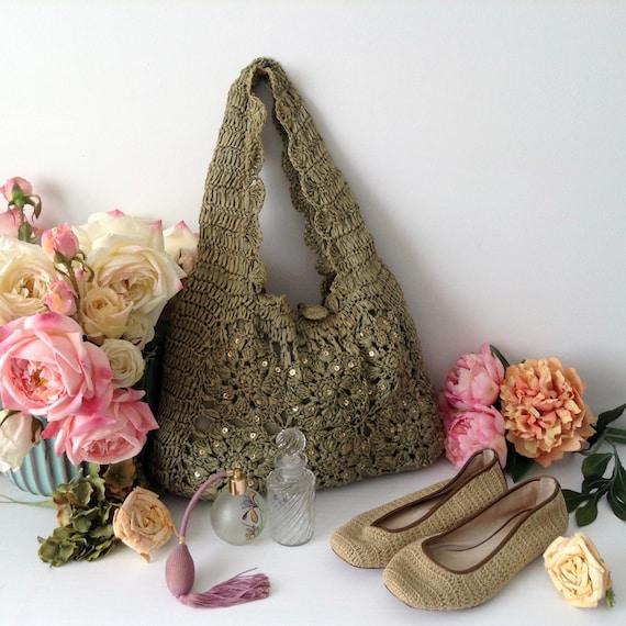 Vintage Green Straw Bag,  Gold Sequins Hobo Soft S