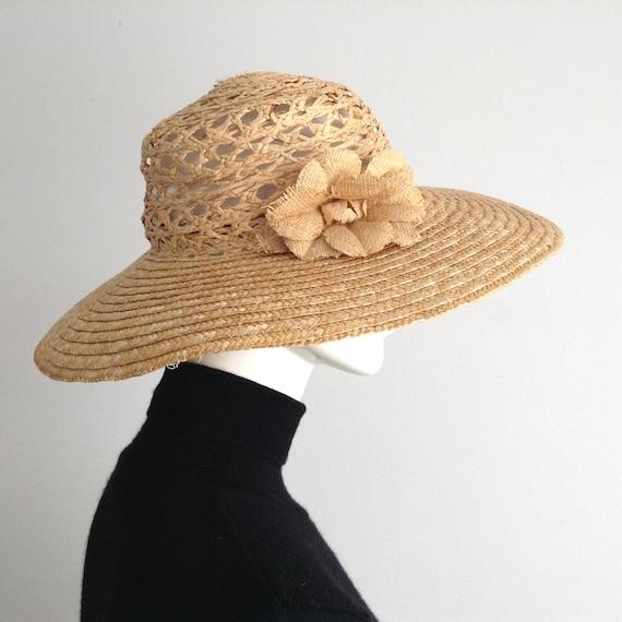 Vintage Woven Natural Straw Wide Brim Hat, See Thr