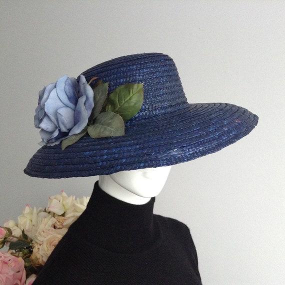 Vintage Blue Wide Brim Straw Hat with Decorative B