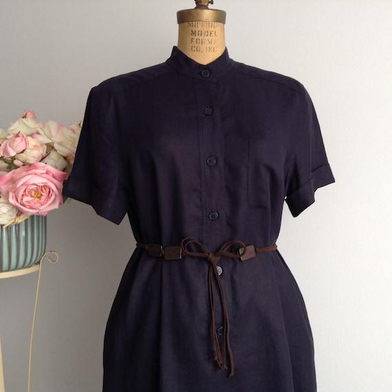 Vintage MAXMARA Weekend Navy Blue Linen Shirt Dres