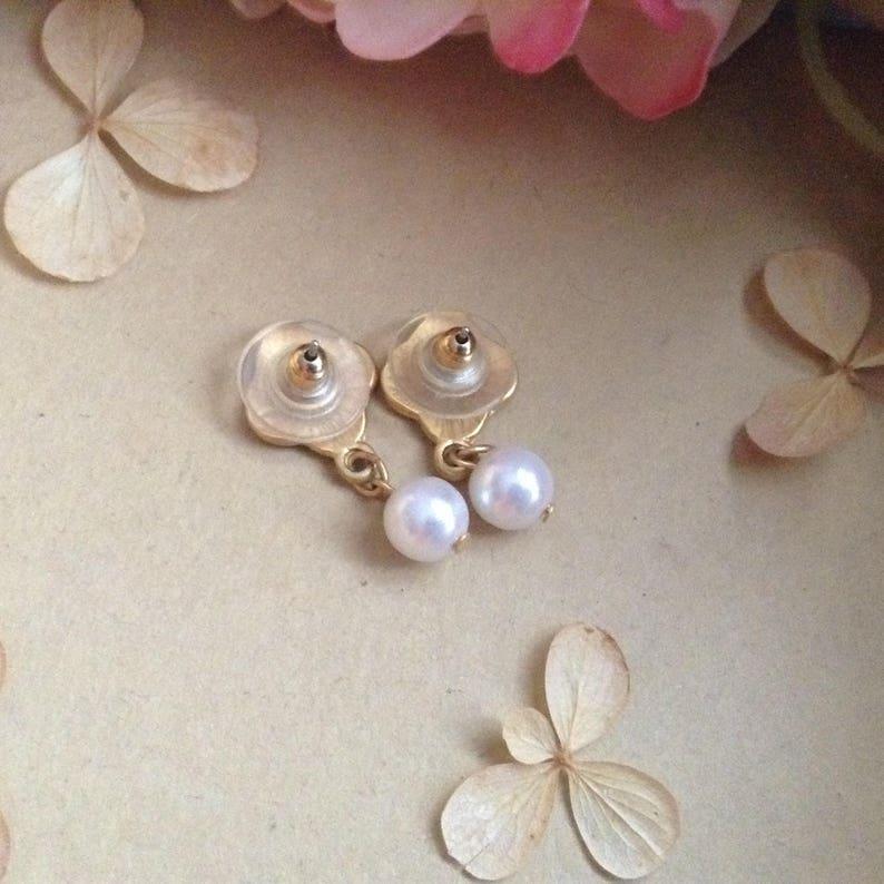 Classy Earrings Vintage Gold Tone and Pearl Drop Earrings Elegant Earrings Victorian Style Antique Style Gift Idea