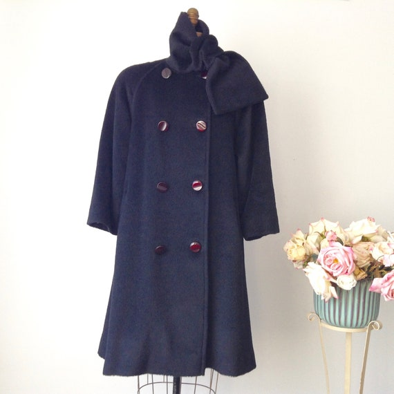 Vintage Raffinati Black Wool Double Breasted Flare