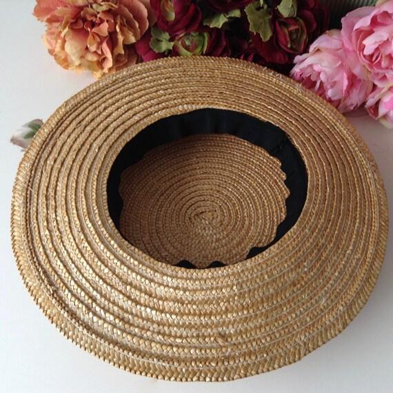 Vintage Natural  Wide Brim Straw Hat , Floral Str… - image 8