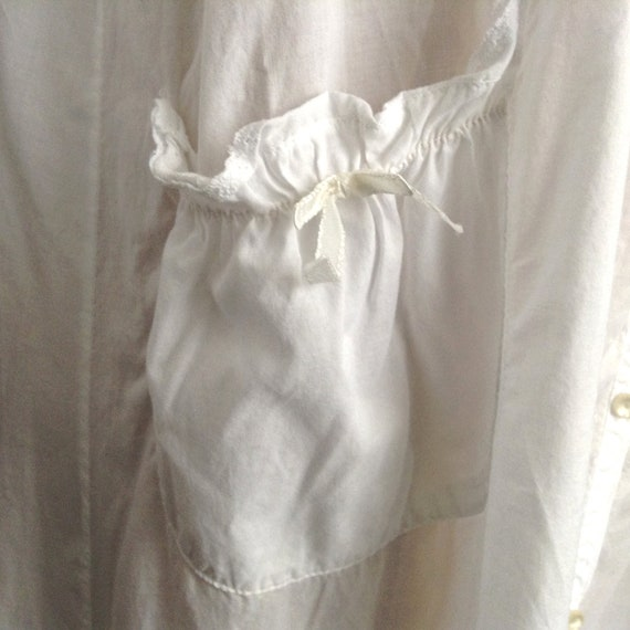 Vintage NICOLE White Cotton Long Sleeve Nightgown… - image 9