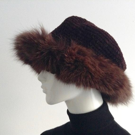 Vintage FERSTEN Purple Acrylic and Fur Winter Hat,