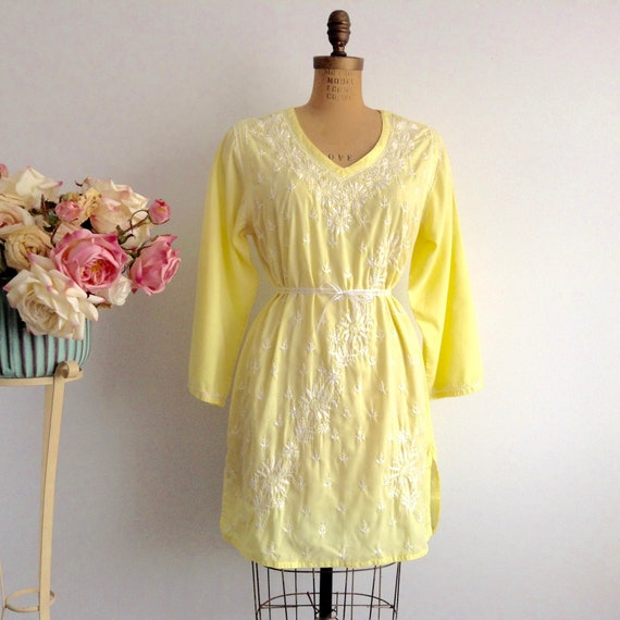 Vintage Hand Embroidered Yellow Cotton Tunic, Whit