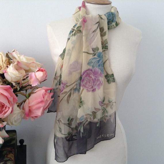 Vintage Rectangular Colorful Anne Klein Sheer Silk