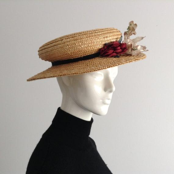 Vintage Natural  Wide Brim Straw Hat , Floral Str… - image 3
