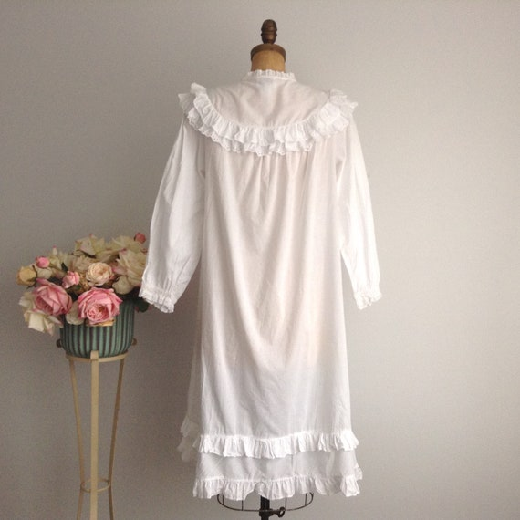 Vintage NICOLE White Cotton Long Sleeve Nightgown… - image 5