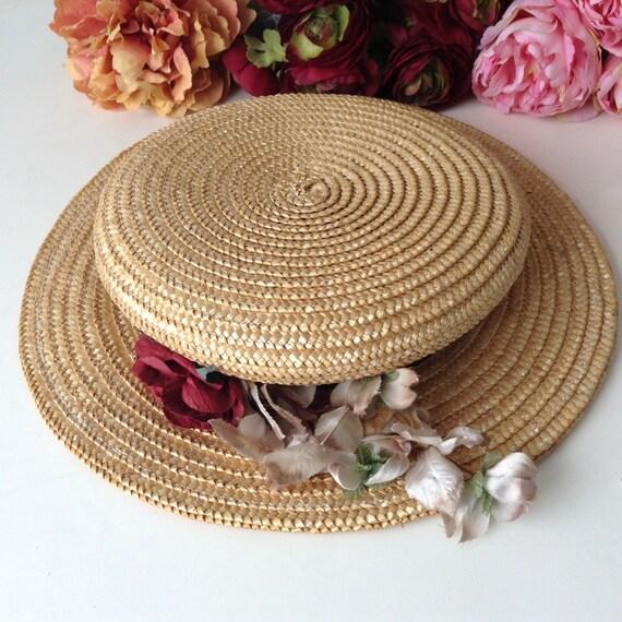 Vintage Natural  Wide Brim Straw Hat , Floral Str… - image 4