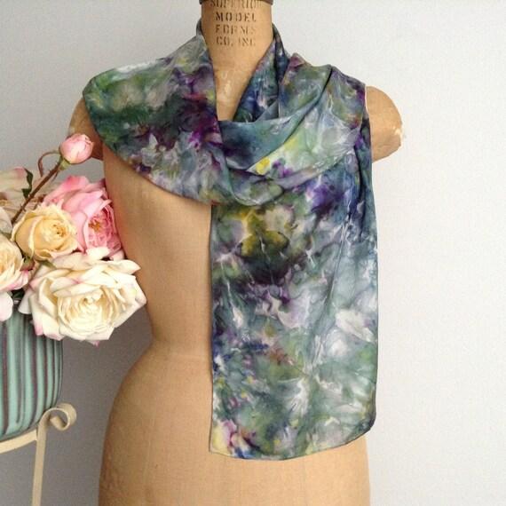 Vintage ROBIN Handmade Batik Silk Scarf, Rectangul