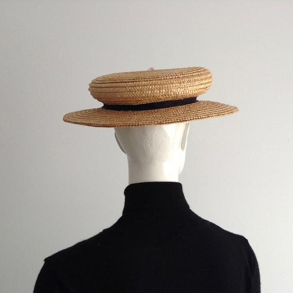 Vintage Natural  Wide Brim Straw Hat , Floral Str… - image 9