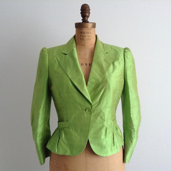 Vintage Motivi Silk Suit, Flashy Green  Women's Su
