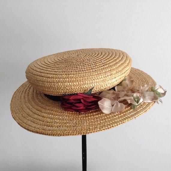 Vintage Natural  Wide Brim Straw Hat , Floral Str… - image 6