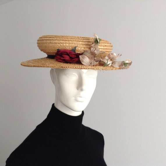Vintage Natural  Wide Brim Straw Hat , Floral Stra