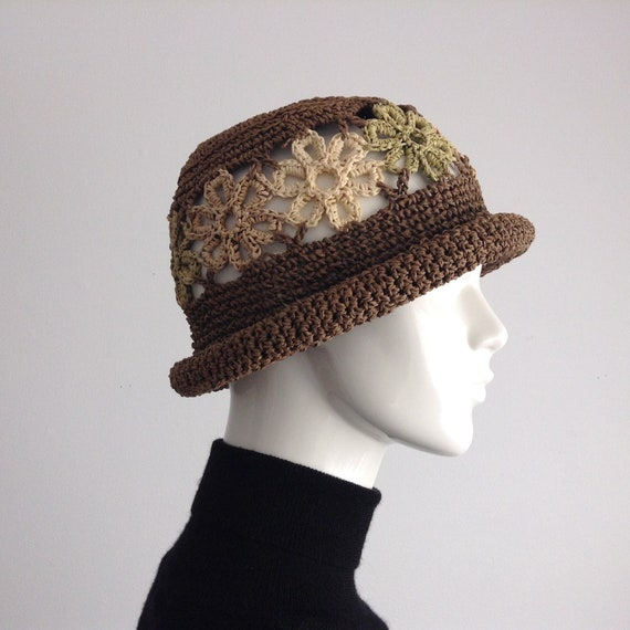 Vintage Brown Crocheted Straw Hat with Floral See-
