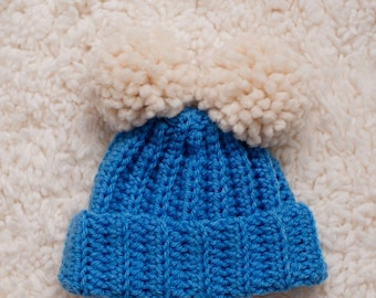 Newborn Double Pom'd Fold-Over Beanie // Knit-Style Crochet Ribbed Hat