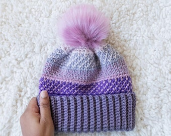 Folded Hayden Heart Hat // Double Brim Foldable Cozy Winter Hat for Newborns, Infants, Children with Faux Fur Pom Pom
