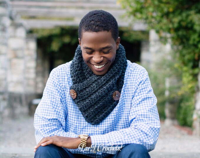 Featured listing image: The Francis Button Scarf // Unisex Chunky Cowl