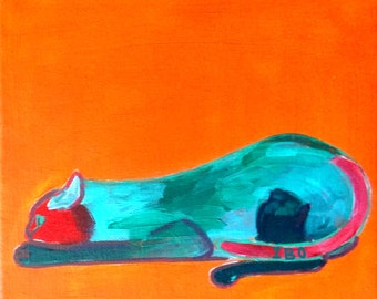 cat, original acrylic painting