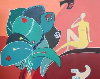 Leaves, original acrylic painting