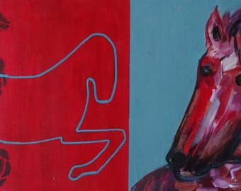 horse head, original acrylic painting on wood-panel