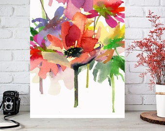 flower digital download, Abstract flower printable, flower wall decor, flower illustration, flower painting, flower watercolor art print