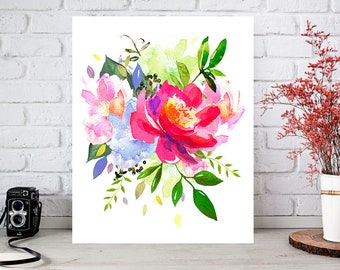 Flower art print, abstract flower painting, flower wall decor, flower illustration, flower painting, flower watercolor art print, flower art