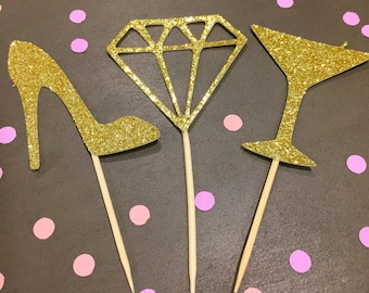 Gold Glitter Party Cupcake Toppers, Set of 12