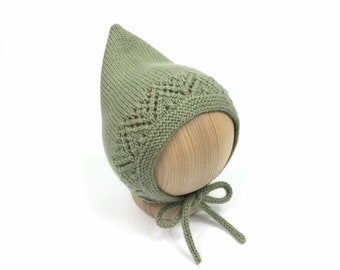 HAND CROCHETED SAGE GREEN PIXIE HAT OTHER COLOURS AVAILABLE 3-6 MONTHS