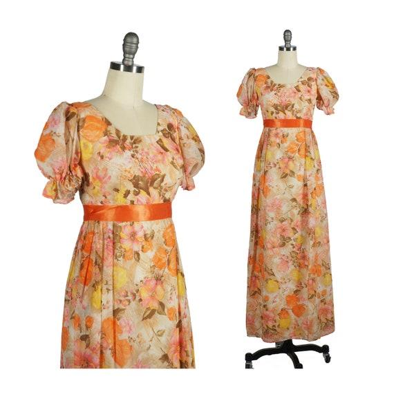 70s Puff Sleeve Dress - Pastel Florals Dress - Ora