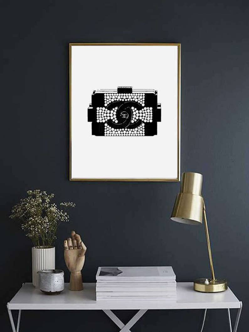 63d8932c2561 Coco Chanel Lego clutch bag illustration poster wall art black | Etsy